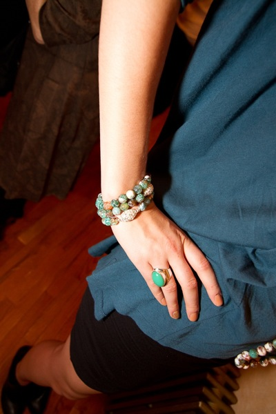 Hawley Tremblay Wearing Teal Fire Agate Bracelets