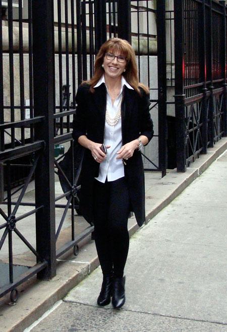 Patty Tobin walking 17th Street neighborhood
