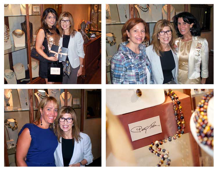 Four winning women pose with their prizes and designer Patty Tobin