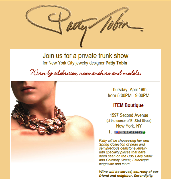 Patty Tobin ITEM Boutique Trunk Show April19th