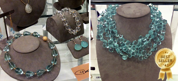 Aqua quartz and clear quartz necklace by Patty Tobin at Bloomingdale's trunk show