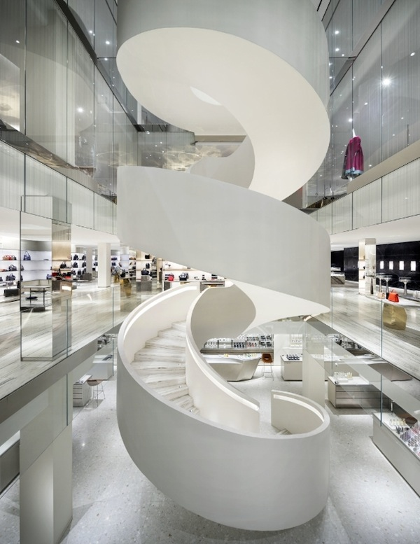 The striking spiral staircase in the center of the store creates an atmosphere of exceptional luxury and modernity. (Photo by Scott Frances)
