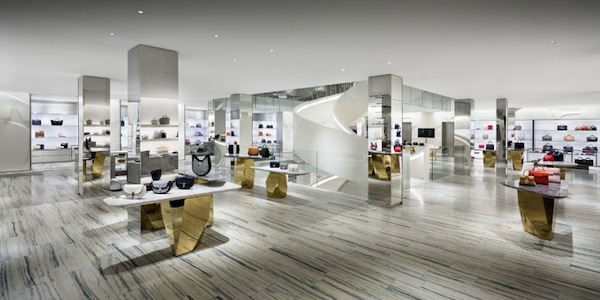 Inside the new modern downtown Barneys. This is what high-end specialty luxury retail looks like. (Photo by Scott Frances)