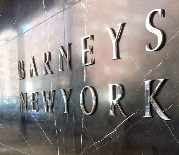Barneys striking black marble facade facing out onto Seventh Avenue between 16th and 17th Streets in Chelsea.