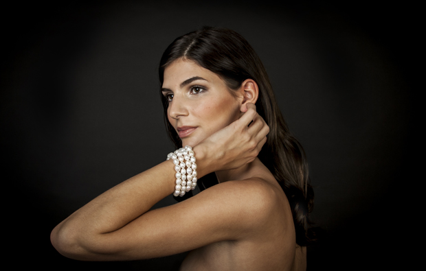 Photographed for Sophisticated Weddings New York Edition 2018 magazine. Patty Tobin four-strand pearl cuff bracelet in white, $595. Click image to shop for this bracelet online.