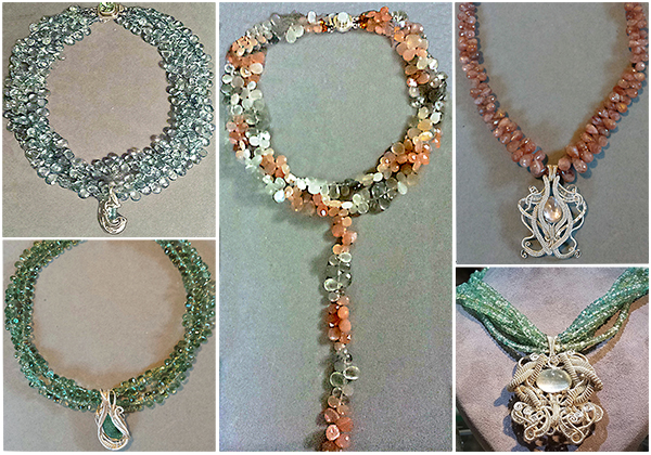 An assortment of colorful one-of-a-kind semiprecious gemstone briolette statement necklaces by Patty Tobin.