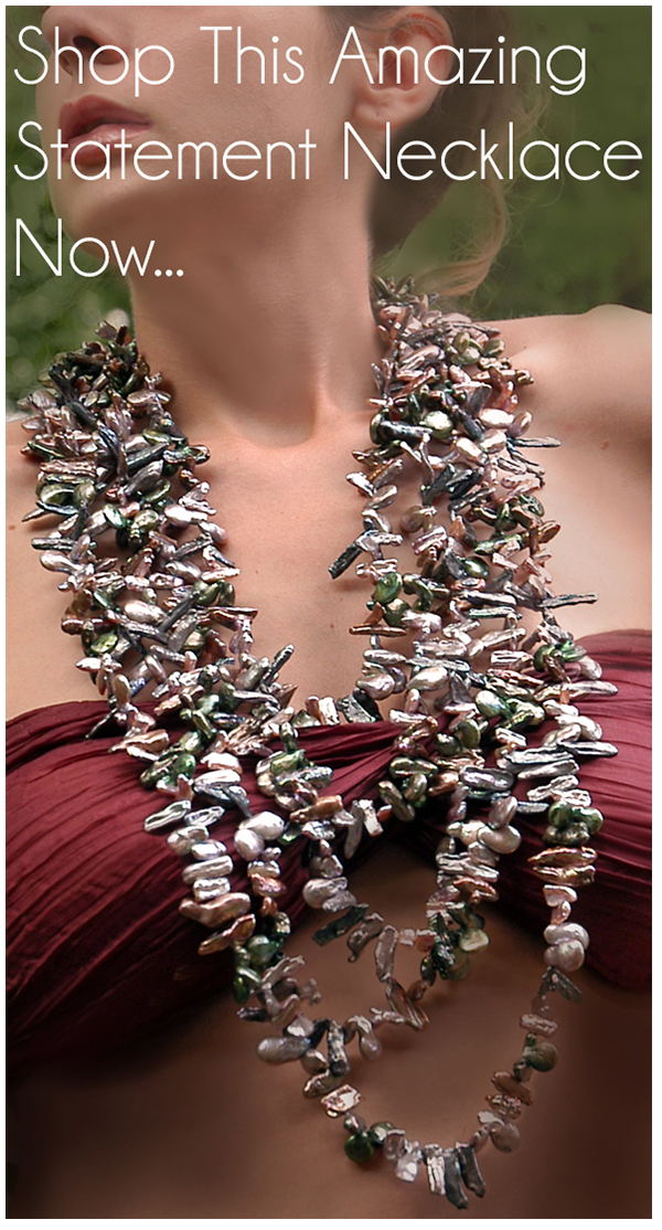 Freshwater Biwa Pearl Mega Statement Bib Necklace. Available now. Click Image to Shop.