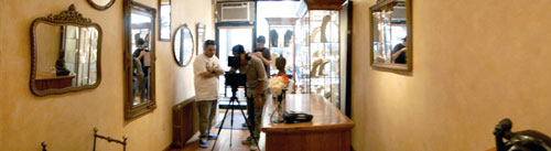 Production crews set-up to shoot BET music video inside Patty Tobin's Chelsea boutique in Manhattan.