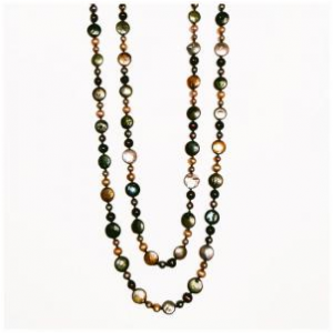 Multicolor freshwater pearl ropes by Patty Tobin