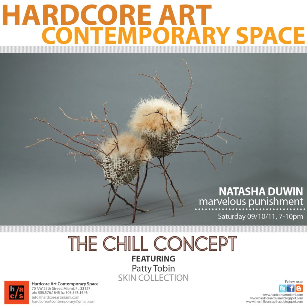 Evite for the chill concept gallery opening in miami, featuring Patty Tobin