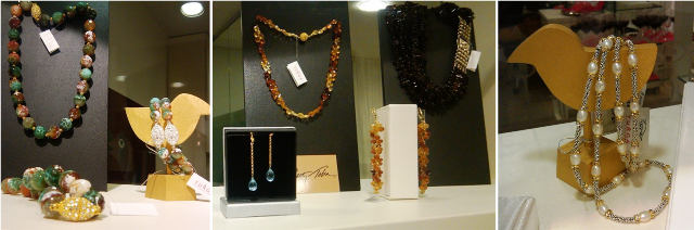 From left to right: Patty Tobin's green fire agate necklace and bracelet sets; hessonite garnet briolette necklace and earrings shown next to blue topaz earrings and smokey topaz torsade; bali sterling and freshwater pearl necklace.