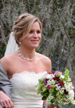Bride (Ashley) wearing Patty Tobin pearl neclace and earrings at her wedding