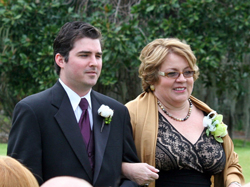 Mother of the bride wearing Patty Tobin pearls