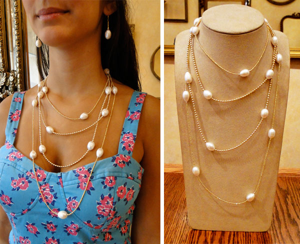 pearl and 22k vermeil chain necklaces by Patty Tobin
