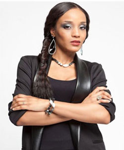 LaLa (Allure) wearing Patty Tobin hematite bracelets and necklace