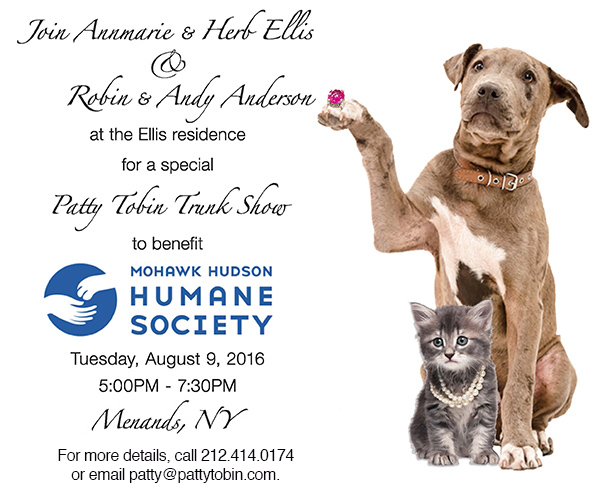 patty tobin fundraiser trunk show  for Mohawk Hudson Humane Society