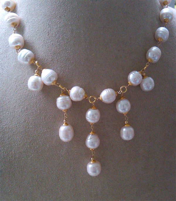 Cleopatra Pearl Necklace with large Freshwater baroque pearls and 18K Vermeil metal detail, $795. Available for Special Order Only. Call or email us to inquire.