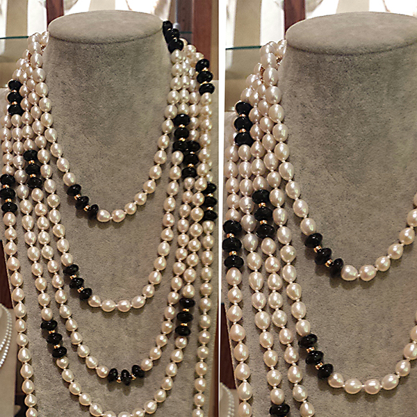 Freshwater Pearl and Onyx Ropes by Patty Tobin