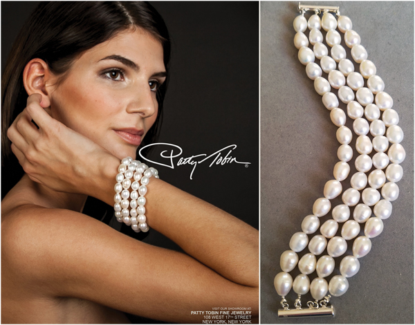 As seen in the soon to be released, Sophisticated Wedding New York Edition for 2018, Patty Tobin 4-strand baroque pearl cuff bracelet, $595.