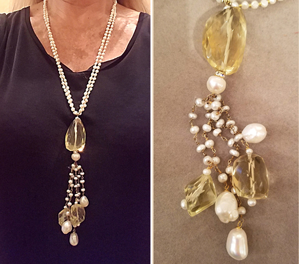 Patty Tobin Pearl and Citrine Long Pendant Necklace
