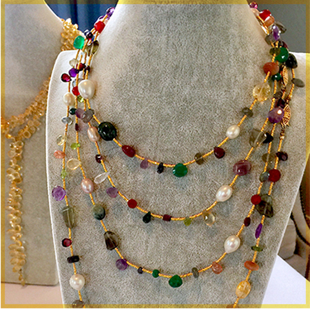 Patty Tobin Gold Chain Multicolor Gems