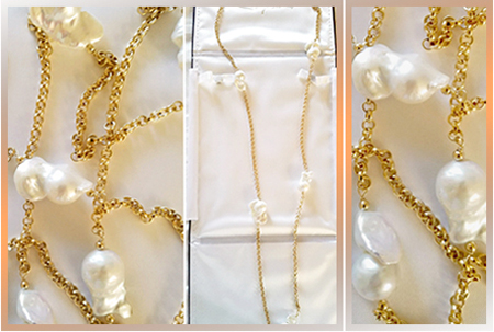 "Patty Tobin Gold 40"" Chain with Pearls"