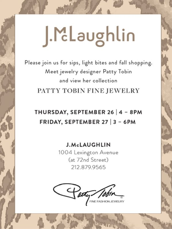 Patty Tobin Trunk Show at J. McLaughlin Lexington Avenue 9/26-9/27